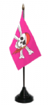 Pirate Pink Desk / Table Flag with plastic stand and base